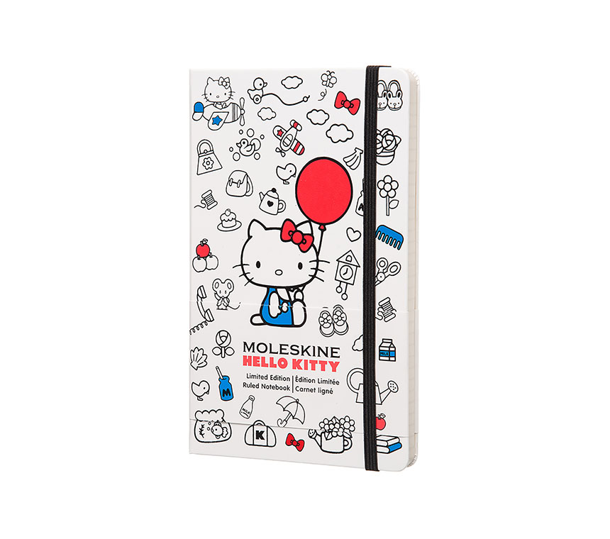 Notes Moleskine Hello Kitty w linię, duży [13x21cm], biała twarda oprawa (Moleskine Hello Kitty Contemporary Limited Edition Notebook Large Ruled Hard)