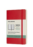 Kalendarz Moleskine 2021 12M rozmiar P (kieszonkowy 9x14 cm) Tygodniowy Czerwony/Szkarłatny Miękka oprawa (Moleskine Weekly Notebook Diary/Planner 2021 Pocket Scarlet Red  Soft Cover)