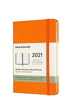 Kalendarz Moleskine 2021 12M rozmiar P (kieszonkowy 9x14 cm) Tygodniowy Pomarańczowy Twarda oprawa (Moleskine Weekly Notebook Diary/Planner 2021 Pocket Cadmium Orange Hard Cover)